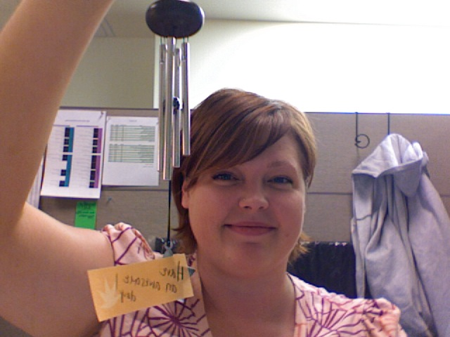 My office windchime. Given anonymously and sweetly!